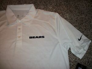CHICAGO BEARS New NWT Mens Nike Dri - Fit Polo Shirt Football White MEDIUM 3XLT