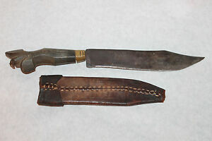 Vintage Negrito Bolo Phillipines Bowie Style Knife W Leather Sheath