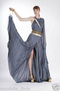$12525 NEW VERSACE DOVE GREY LONG DRESS GOWN with ONE SLEEVE