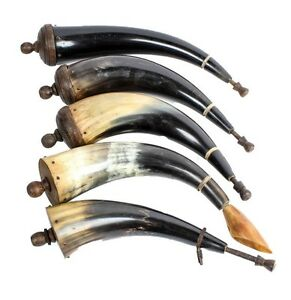 Gun Powder Horn Collection - 5 Powder Horns with Lids and a Plug