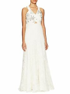 Rebecca Taylor Lace Embellished Maxi Gown Porcelain Formal Wedding Prom 8 10 NWT