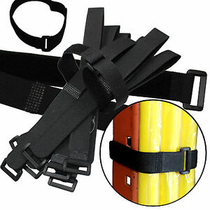 Durable 10 Hook and Loop Reusable Cable Tie Down Straps Kit 20 inch x 1
