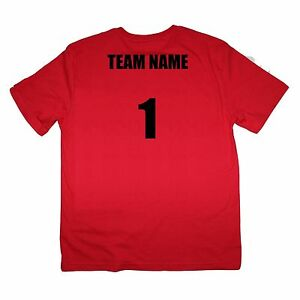 Sport Team Red Shirts Set of 6 Team Name and Number $20 ea - Sizes kids to XL