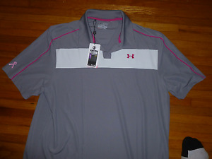 BRAND NEW WITH TAGS UNDER ARMOUR BREAST CANCER AWARENESS POLO SHIRT 2X LOOSE