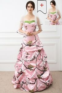 Hot A-Line Camo Wedding Dresses Formal Pink Camouflage Bridal Gowns Veil Custom