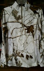 NEW! Women's Realtree White Snow Camo Dry Fit Zip Pullover Shirt L 42 44 10 12