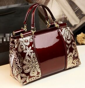 Elegant Womens Zipper Floral Patent Leather Messenger Bags Handbags Tote