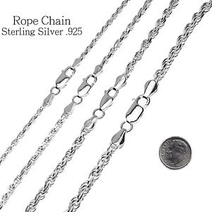 Sterling Silver Diamond Cut Rope Chain Necklace 925 Italy All Widths and Length $12.74