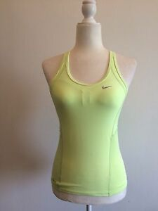 Nike FIT DRY Athletic GREEN Women's Workout Racer Back Tank Top T Shirt S