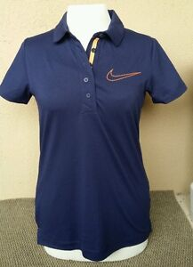 NIKE GOLF SPORT Dri Fit Womens Medium Polo Shirt Short Sleeve Orange Swoosh Navy
