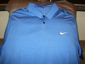 Nike Golf Tiger Woods Collection Dri Fit Cool Blue Striped Polo Shirt Men's 2XL