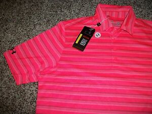 UNDER ARMOUR New NWT Mens Polo Shirt Bright Pink Stripe Loose Fit LARGE 2XL XXL