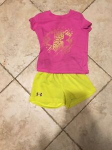 Under Armour Toddler Girl Outfit Sz 24 Months Pink UA Baby Shorts Tee