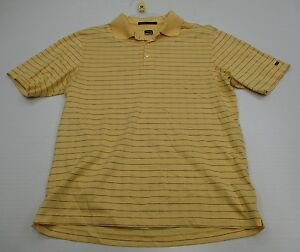 NIKE #T1624 Men's Size M Athletic TIGER WOODS GOLF FIT-DRY Yellow Polo Shirt