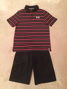 Boys Under Armour YMD M Medium 10-12 Polo Golf Shirt & YMD M 10-12 Golf Shorts