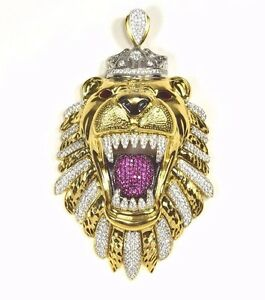 Brand New Sterling Silver Gold Plated Iced Out Bling King Lion Hip Hop Pendant