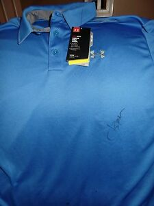 JORDAN SPIETH 2015 MASTERS CHAMP SIGNED AUTOGRAPHED BLUE UNDER ARMOUR SHIRT JSA