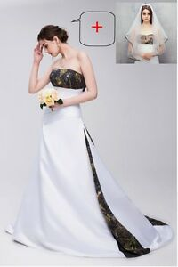 New Camouflage Wedding Dresses Formal A-Line Camo Bridal Gowns Custom Veil Free