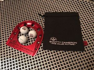 SCOTTY CAMERON RED ANODIZED PUTTING CUP W 3 Titleist SCOTTY Pro V1x +BLACK BAG