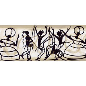 Cultural Dance poster print decor 10x24 People Celebrating and Dancing Painting