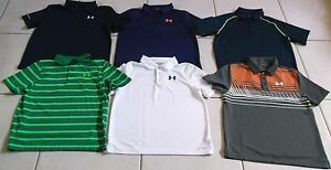 UNDER ARMOUR BOYS SIZE LARGE 6 PIECE LOT OF GOLF POLO SHIRTS IN EUC!