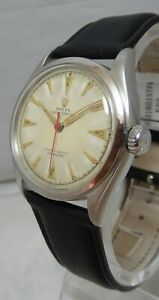 Rolex Oyster Perpetual Bubbleback 14k Gold Capped Mens Watch On Lamb Strap 1953