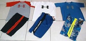 UNDER ARMOUR BOYS SIZE LARGE 6 PIECE ATHLETIC LOT OF SHORTS & TOPS SET IN NWT!