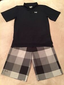 Boys Under Armour YXL XL Extra Large 18-20 SS Polo Golf Shirt & YXL Golf Shorts