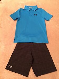 Boys Under Armour YSM S Small SS Polo Golf Shirt & Golf Shorts WPockets