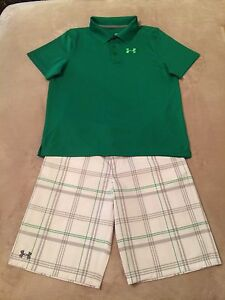 Boys Under Armour YXL XL Extra Large 18-20 Golf Shorts & YXL XL Polo Golf Shirt