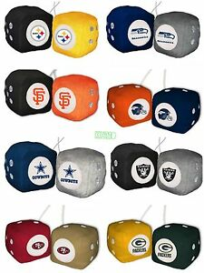 NFL MLB Home office Car Truck Rear View Mirror Soft Plush Fuzzy Hanging Dice