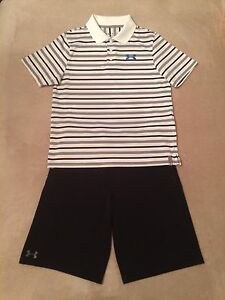 Boys Under Armour YLG L Large 14-16 SS Polo Golf Shirt & YLG L Golf Shorts
