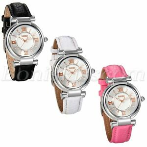 Fashion Roman Numberals Leather Strap Womens Girls Waterproof Quartz Wrist Watch