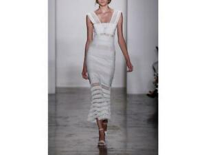 JONATHAN SIMKHAI Mechanical Macrame Gown Dress Ivory Sz 6 $1595 NWT