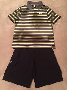 Boys Under Armour YLG L Large 14-16 Polo Golf Shirt & YLG L 14-16 Cargo Shorts