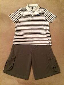 Boys Under Armour YLG L Large 14-16 Polo Golf Shirt & YLG L 14-16 Golf Shorts