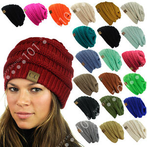 Hot item CC Beanie New Womens Knit Slouchy Thick Cap Hat Unisex Solid Color $8.92