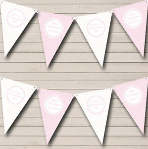 Girl Pink And White Personalised Christening Baptism Bunting Banner Garland