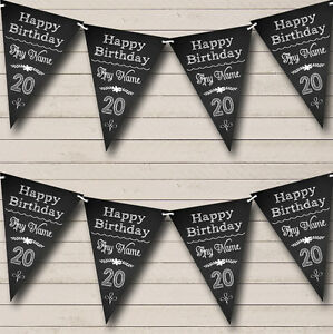 Chalkboard Look Black White Personalised Birthday Party Bunting Banner Garland