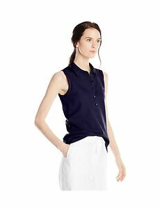 Lacoste Women's Sleeveless Stretch Pique Slim-Fit Polo Shirt Navy Blue 44 New