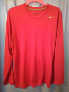 NIKE Dri-Fit Unisex long Sleeve Athletic Shirt Size Medium Red Running Sport #KC