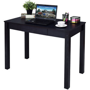 Black Computer Desk Work Station Writing Table Home Office Furniture WDrawer