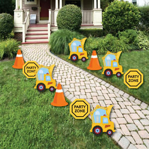 Construction Truck - Outdoor Baby Shower or Birthday Party Yard Decor - 10 Piece