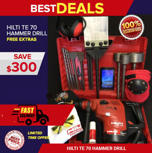 HILTI TE 70 ATC HAMMER DRILL, DISPLAY, FREE TABLET, BITS, EXTRAS, QUICK SHIP