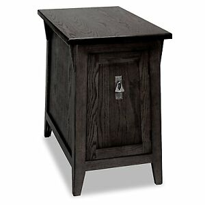 Black Mission Style Cabinet End Table Storage Shelf Accent Wood Furniture Stand