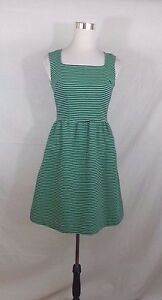 Navy Blue and Green Striped Merona Sleeveless dress XS