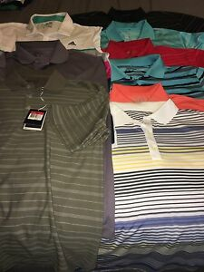 Mens 9 Shirt Lot Nike Dri-fit Tour Performance Adidas Climacool Size Large