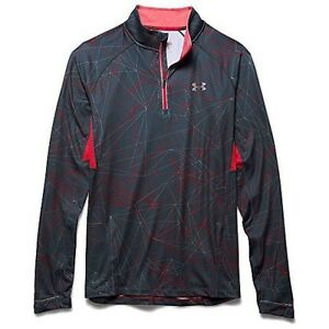 Under Armour Launch Printed 14 Zip Top - Mens Wire  Red  Reflective Large