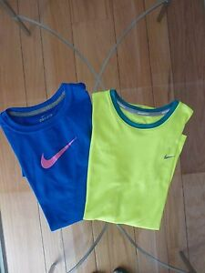 NIKE Two Dri-fit T-shirts One Yellow One Blue Girl's Large L 12 14 Lot