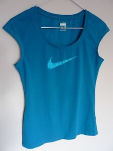 NIKE FIT DRY SLEEVELESS DEEP TURQUOISE T-SHIRT TOP SIZE XS